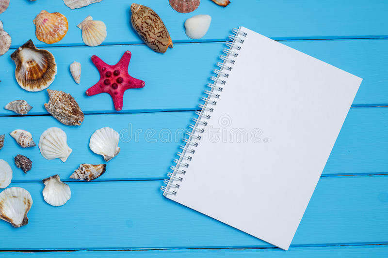 Blank notepad and Sea star and shells on wooden blue background. royalty free stock photos
