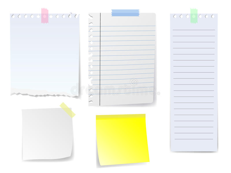 Download Blank Notes and Papers stock vector. Image of label, advise - 22356320