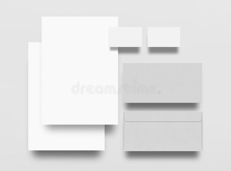 Mock up. Set of mock up elements on gray background. Blank objects for placing your design. Sheets of paper, envelope and business card vector illustration