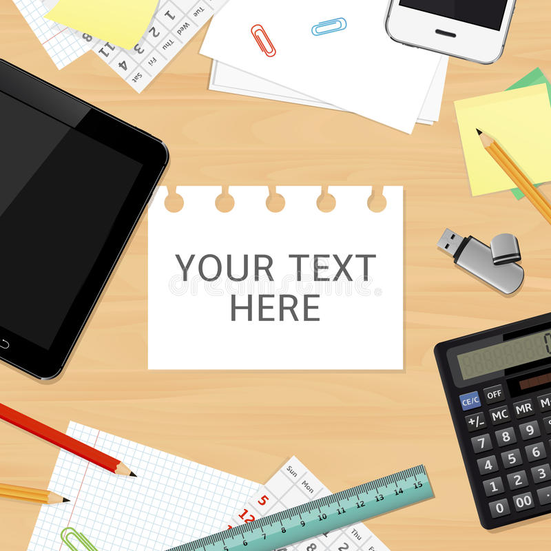 Blank office desk background with copy space for your text royalty free illustration