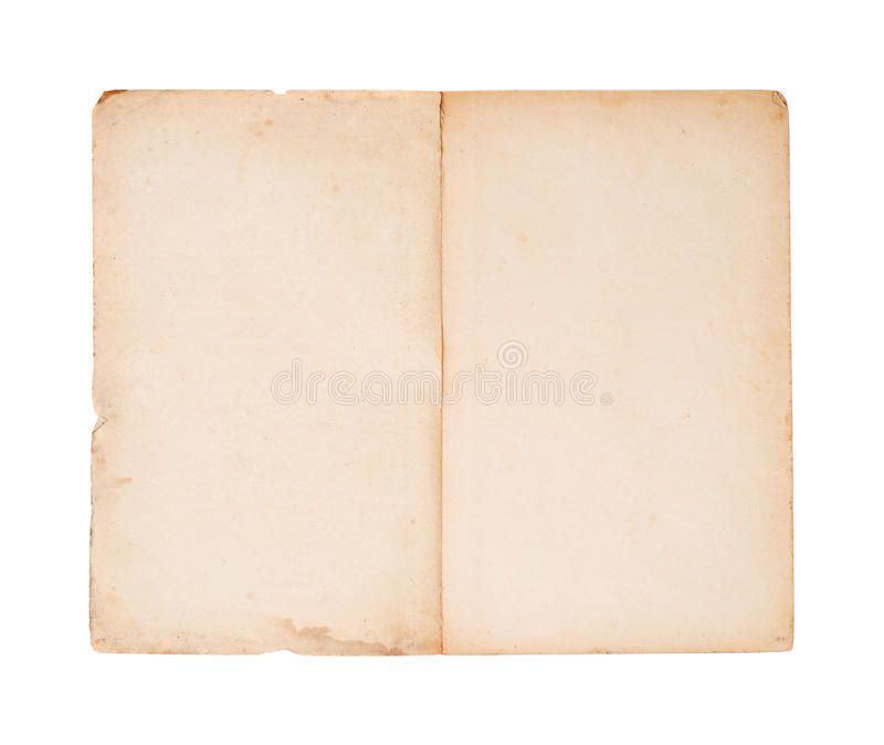 Blank old brochure. Open blank pages of old brochure (isolated on white royalty free stock photo