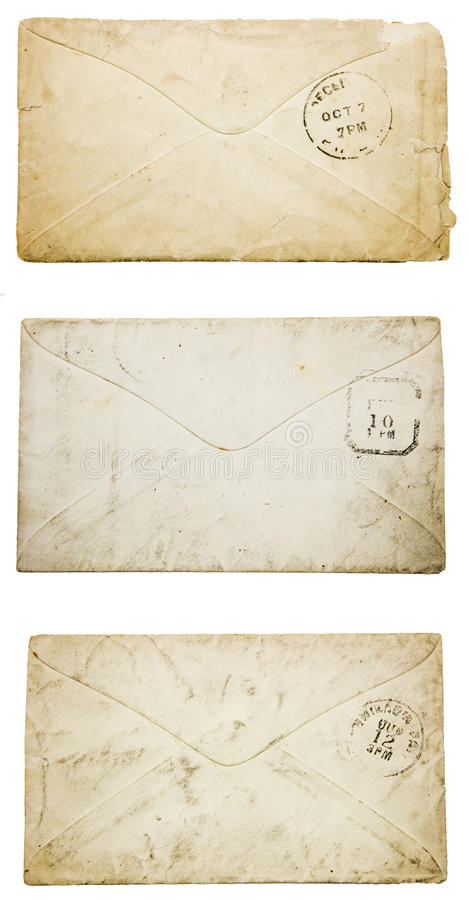Blank old envelopes back worn dirty postmark collage. Vintage faded yellowed stained dirty envelopes blank back with postmarked isolated white background stock photos