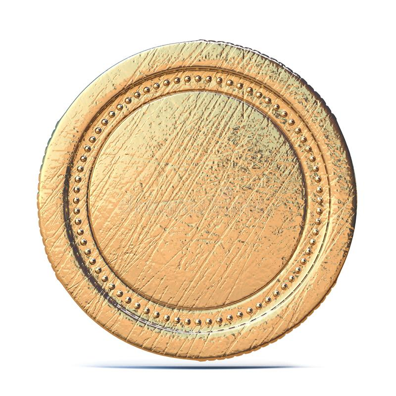 Blank old gold coin 3D vector illustration