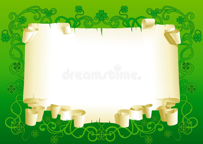 Blank of old paper for St. Patricks Day royalty free stock photo