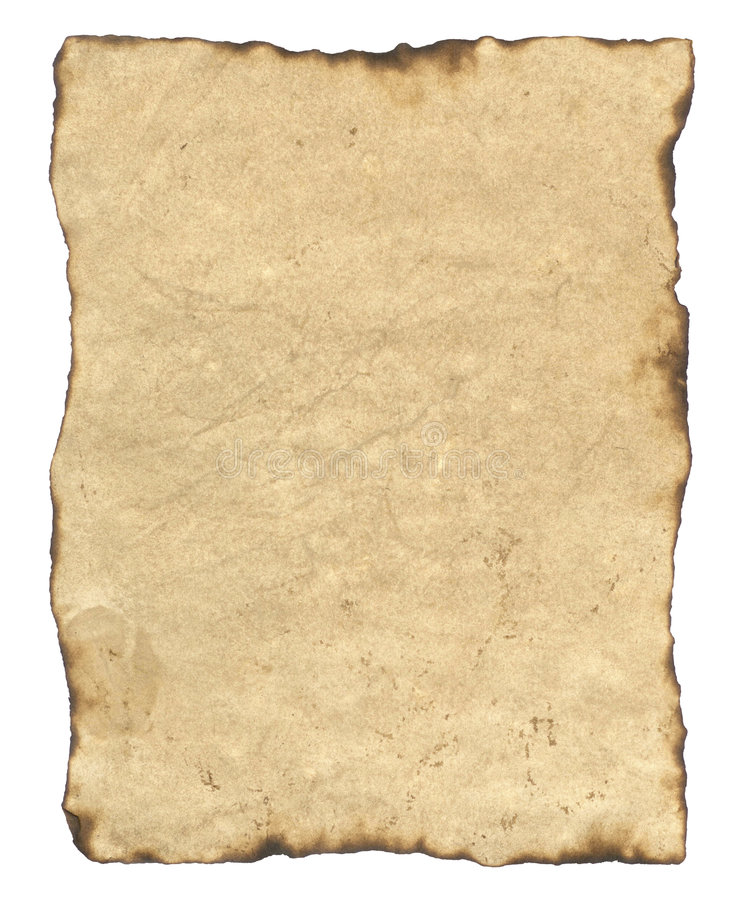Blank Old Parchment Paper stock image