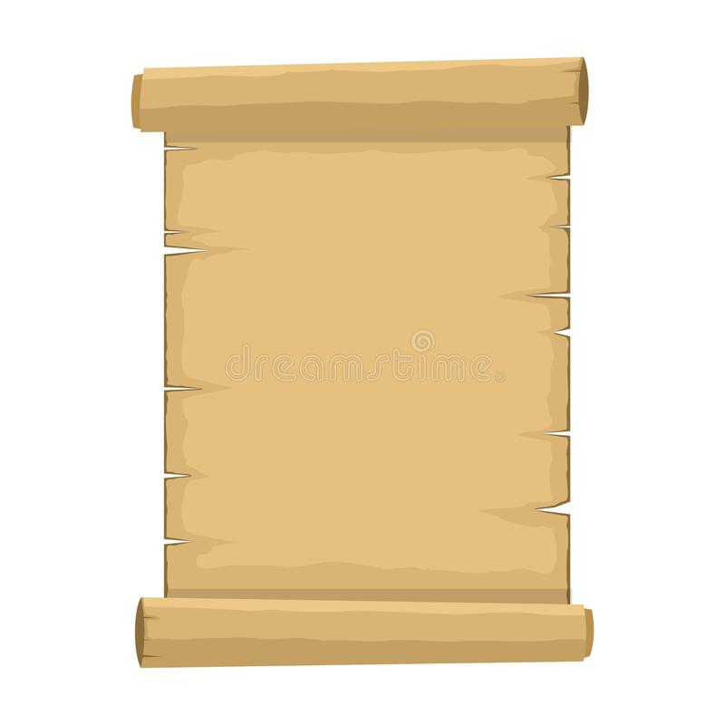 Blank old scroll of papyrus paper cartoon on white background. Blank retro papyrus sheet in flat style royalty free illustration