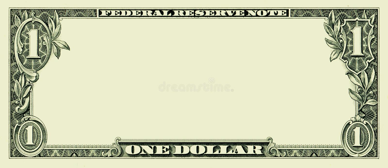 Blank one dollar bill. Clear 1 dollar banknote pattern for design purposes