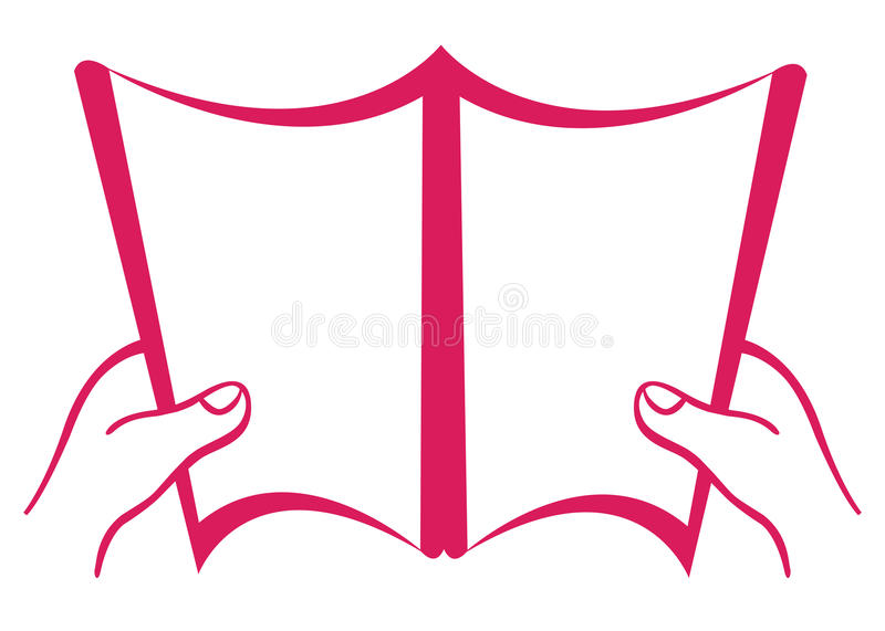 Blank open book. Vector illustration of blank open book with hands isolated on white background vector illustration