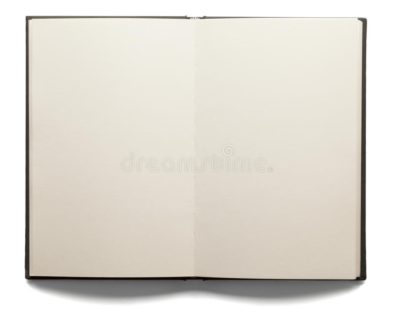 Blank Open Book. Blank white pages in an open hardcover book isolated on a white background royalty free stock images
