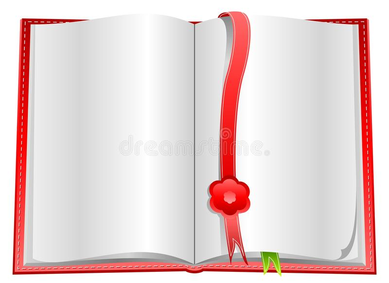 Blank open book with bookmarks. Blank open book with white pageon white background and with bookmarks stock illustration