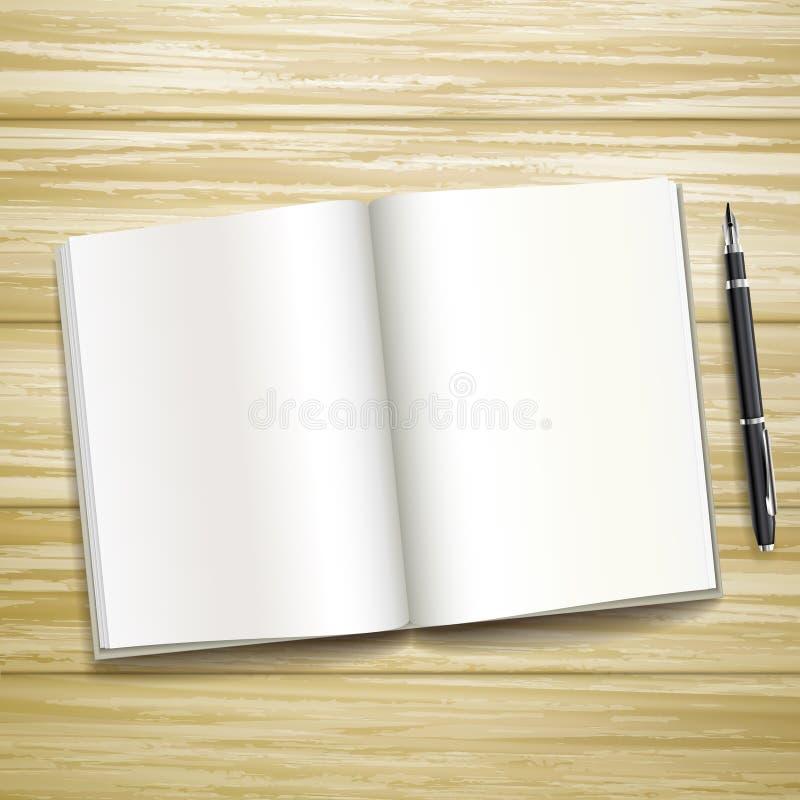Blank open book over wooden desk royalty free illustration