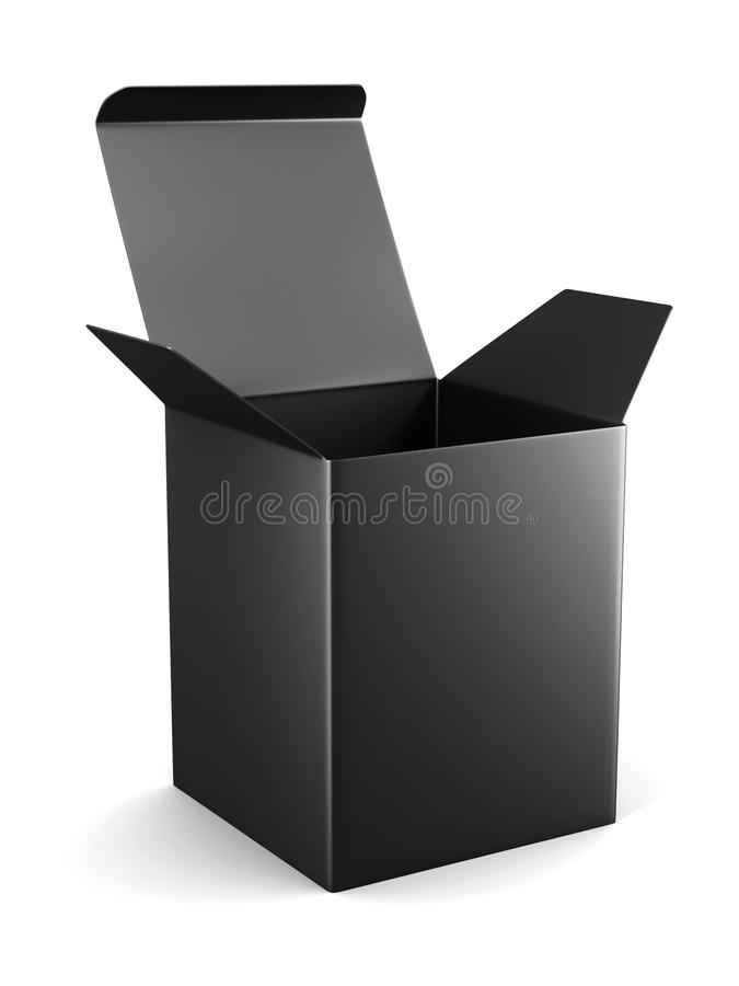 Blank open cardboard box template standing on white background. stock illustration
