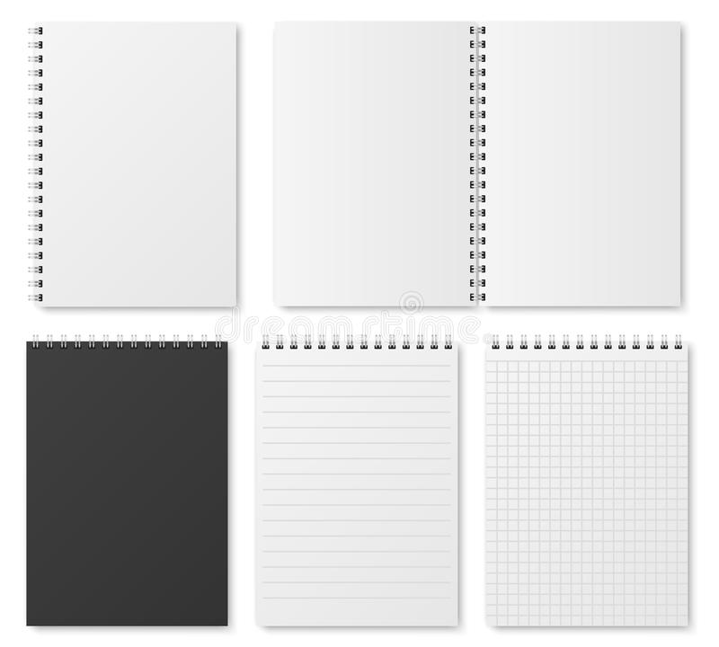Blank open and closed realistic notebook, organizer and diary vector template isolated. Diary notepad, paper page organizer and notebook illustration royalty free illustration