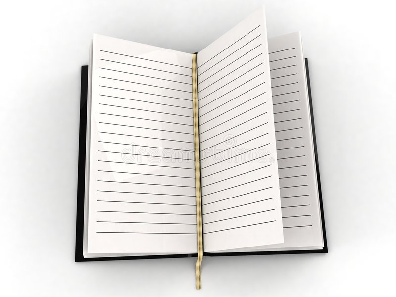 Blank open diary. Three dimensional blank open diary against white background stock illustration