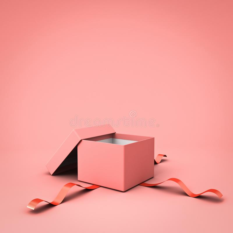 Blank open gift box or present box with red ribbon isolated on pink pastel color background vector illustration