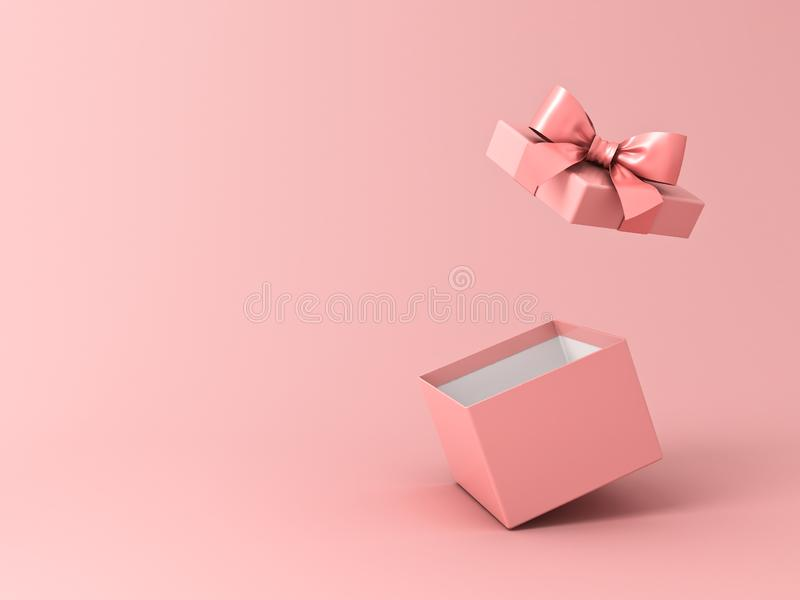 Blank open gift box or present box with pink ribbon bow isolated on pink pastel color background vector illustration