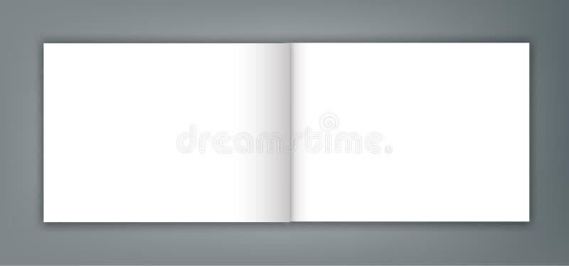 Blank open magazine catalogue brochure mockup cover template stock illustration