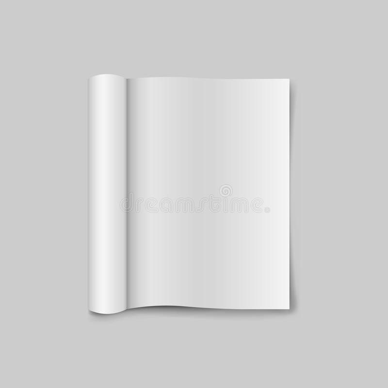 Blank open magazine template with rolled pages. isolated on white background. Vector illustration. Eps 10 royalty free illustration