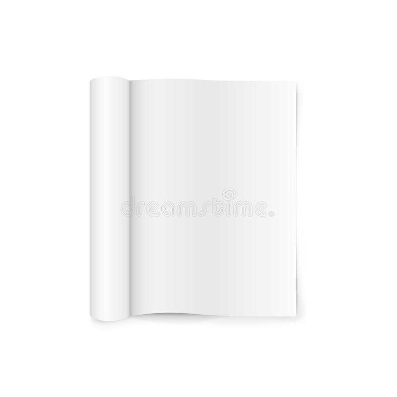 Blank open magazine template with rolled pages. isolated on white background. Vector illustration. royalty free illustration
