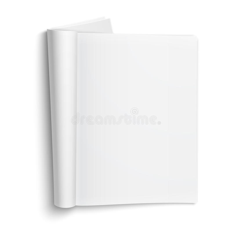 Blank open magazine template with soft shadows. royalty free illustration