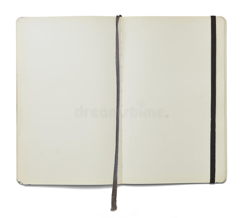Blank open note book with a bookmark and an elastic closure stock image