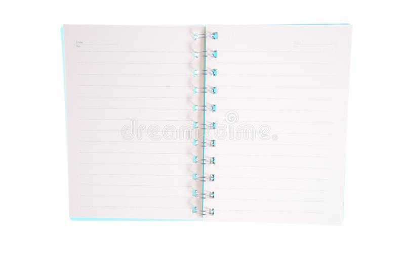 Blank open notebook lined papers stock image