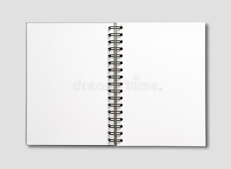 Blank open spiral notebook isolated on grey stock images