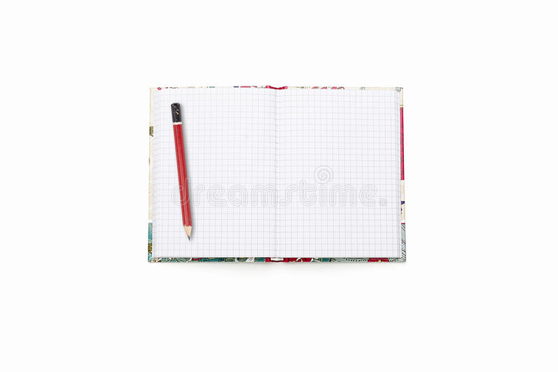Blank open squared text book with red pencil stock images