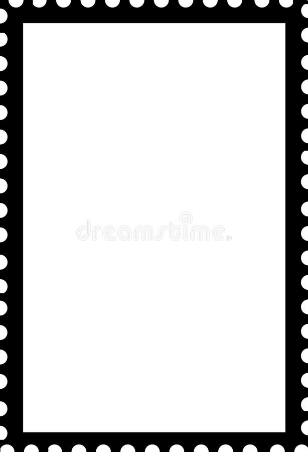 Blank Open Stamp Portrait Template Black On White Stock Illustration