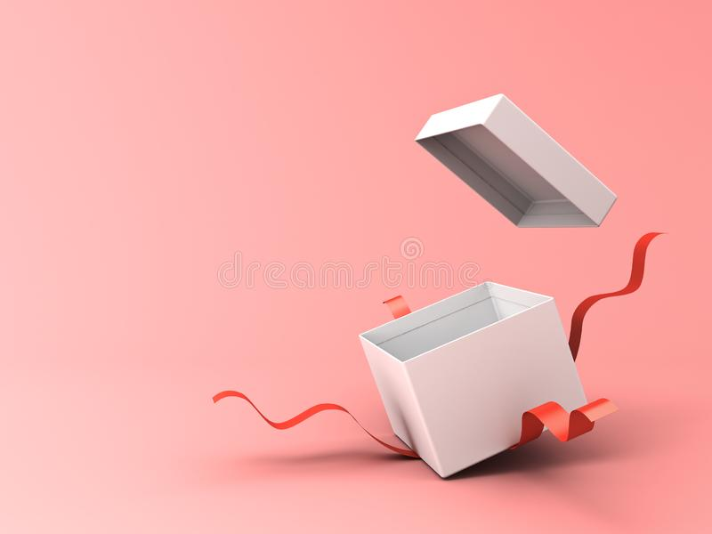 Blank open white gift box with red ribbons isolated on pink pastel color background vector illustration