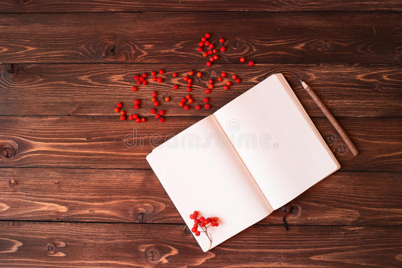 Blank open white notebook, wooden pencil and red ashberry on wooden background. Open white notebook, wooden pencil and red ashberry on wooden background stock photos