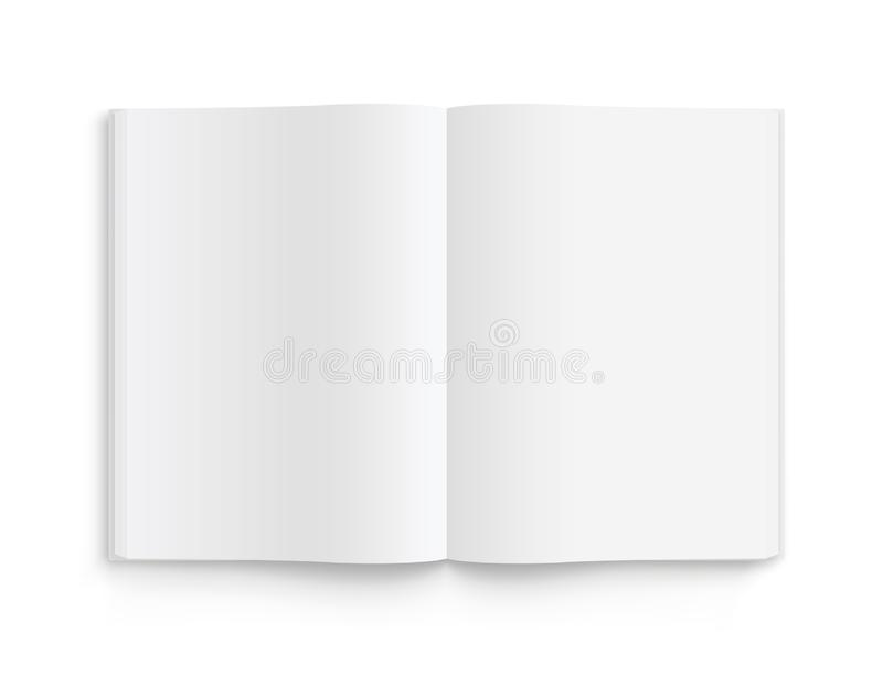 Blank opened book, magazine and notebook template with soft shadows. Front view. - stock vector stock illustration