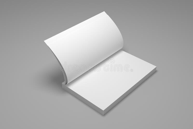 Blank opened 3D illustration book mock-up royalty free illustration