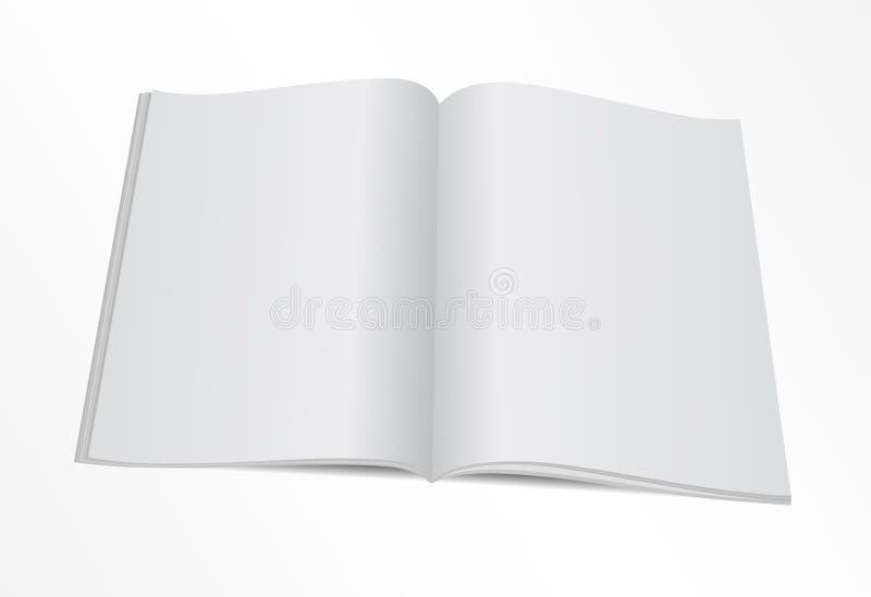 Blank opened magazine mock template vector illustration