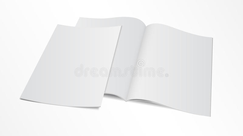 Blank opened magazine template with cover stock illustration