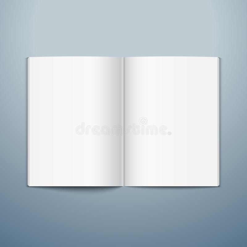 Blank opened magazine template. Open book page clean booklet or magazine template background.  royalty free illustration
