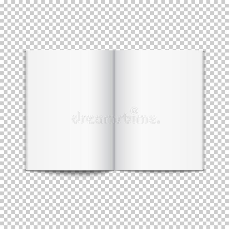 Blank opened magazine template. Open book page clean booklet or magazine template background.  stock illustration