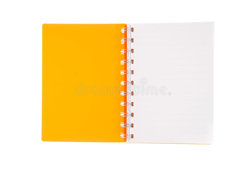 Blank opened notebook lined papers isolated stock photography