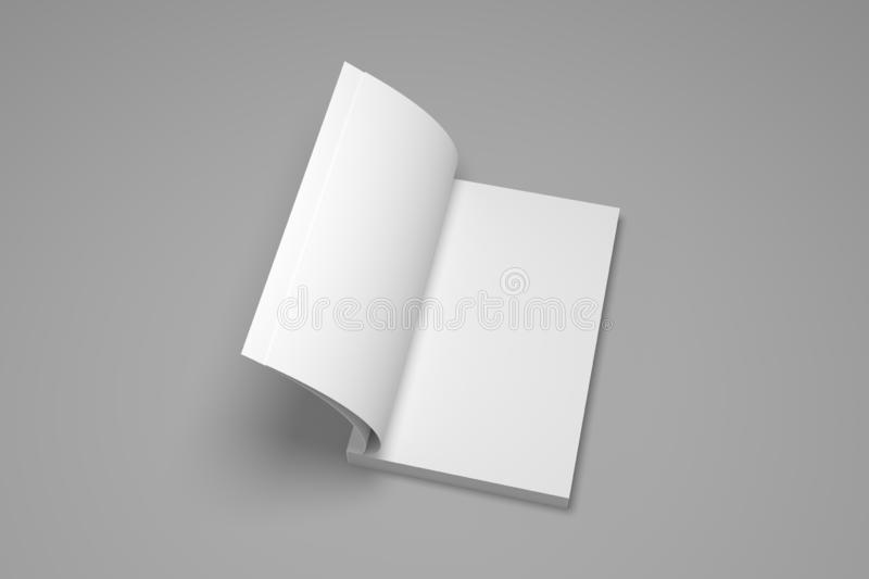 Blank opened soft cover 3D rendering book mock up vector illustration