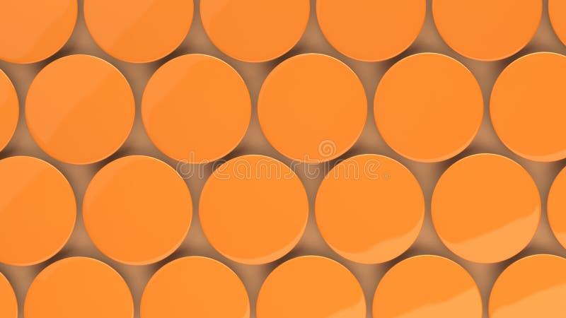 Blank orange badge on orange background. Pin button mockup. 3D rendering illustration vector illustration