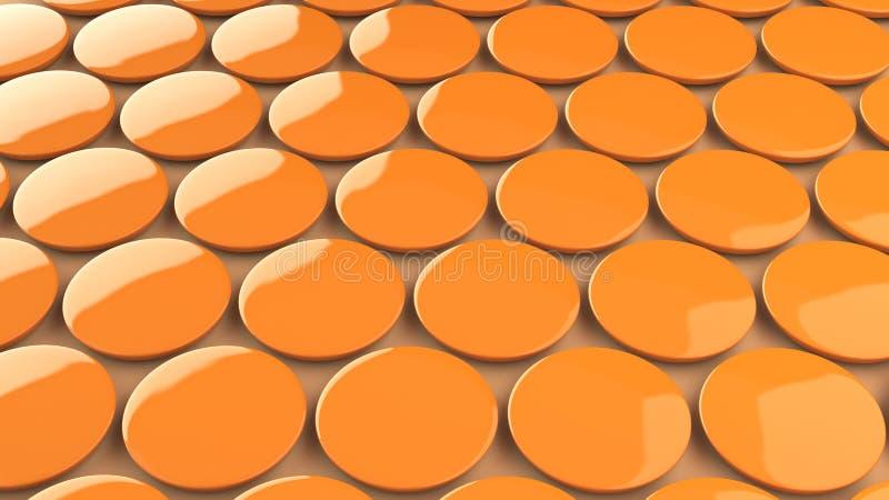 Blank orange badge on orange background. Pin button mockup. 3D rendering illustration royalty free illustration