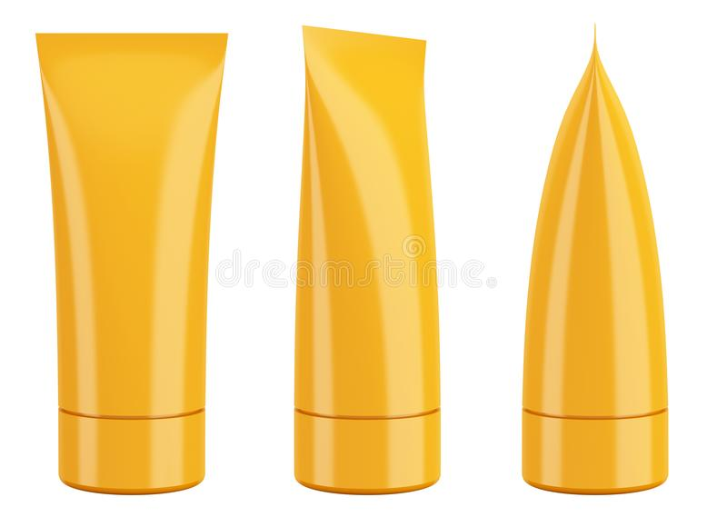 Blank orange cream cosmetic or toothpaste tube isolated on white vector illustration