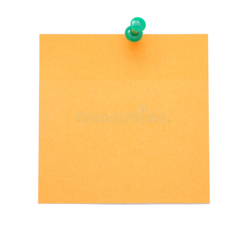 Blank orange post-it note stock photo. Image of close ...