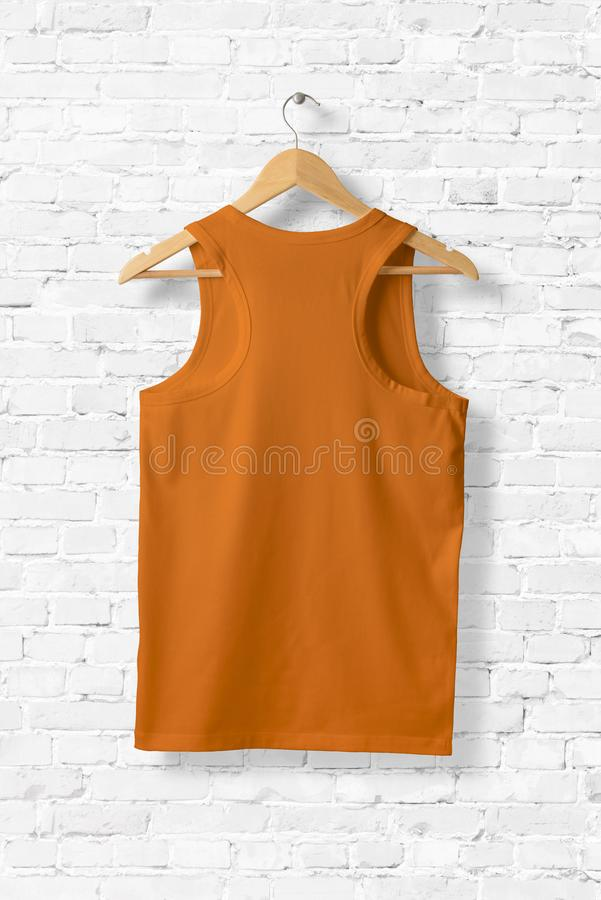 Blank Orange Tank Top Mock-up hanging on white wall. vector illustration