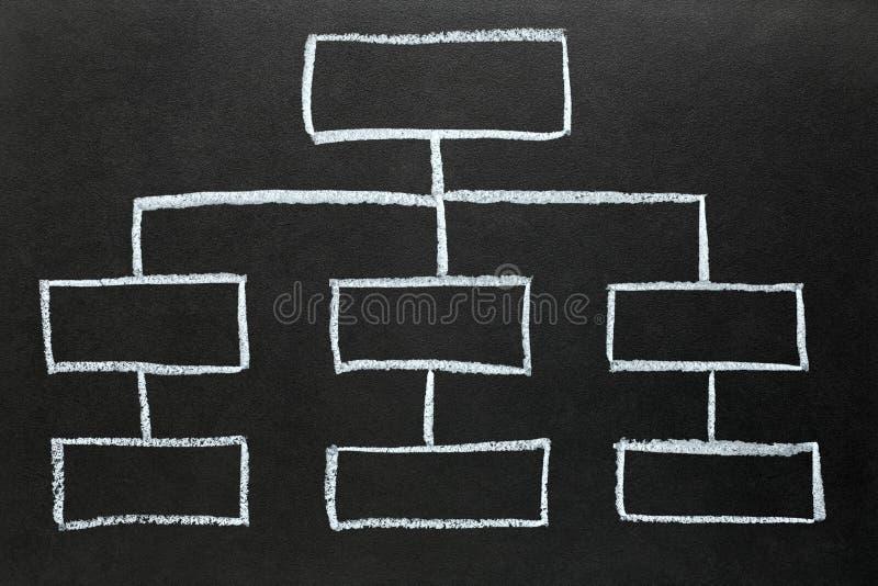 Blank Organization Chart Drawn On A Blackboard  Stock