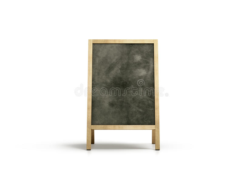 Blank outdoor chalkboard stand mockup, , front view. 3d rendering. Clear street signage with blackboard mock up. A-board with wooden frame template. Bar or royalty free stock images