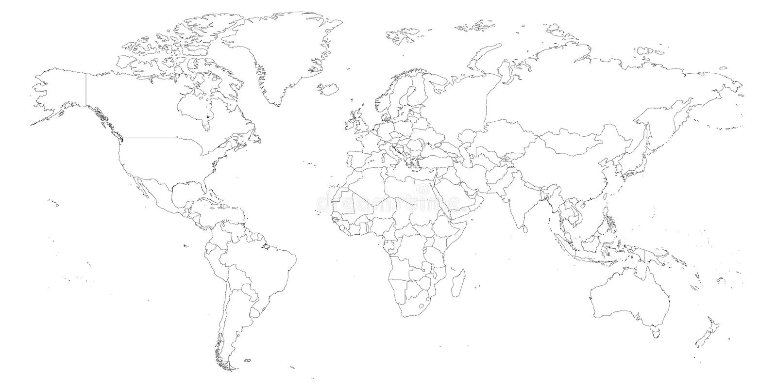 Download Blank Outline Map Of World. Worksheet For Geography Stock Vector    Illustration Of Geography