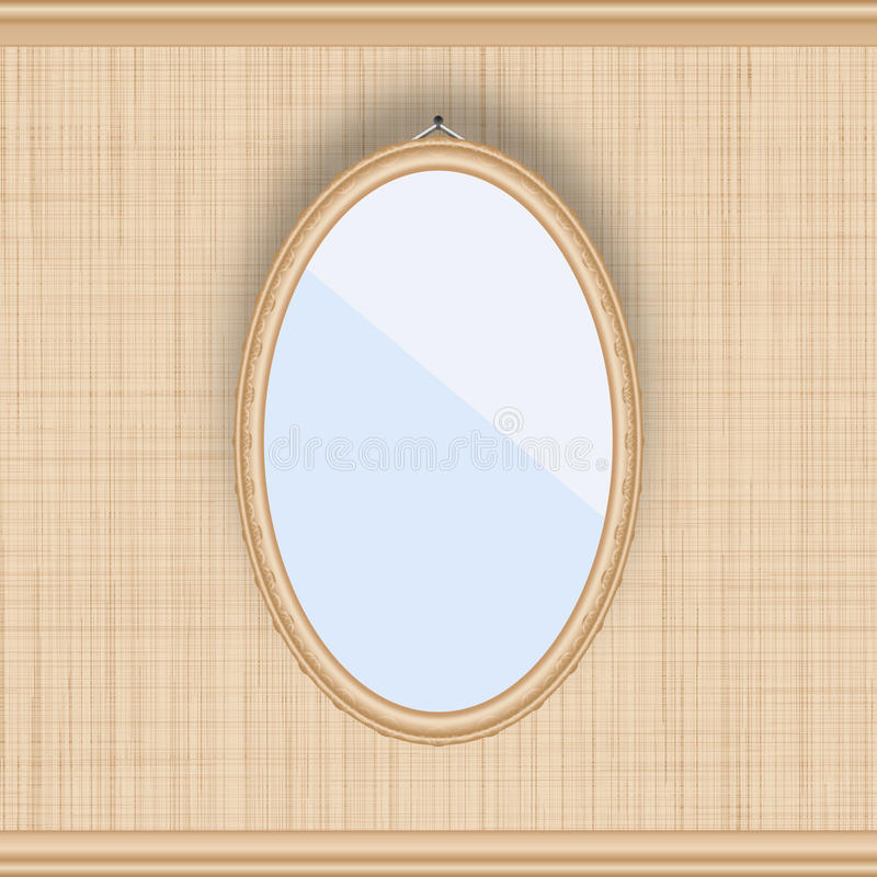 Blank oval picture frame on a beige wall with fabric texture. Vector illustration royalty free illustration