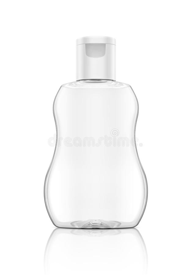 Blank packaging baby oil clear bottle isolated on white royalty free stock photo