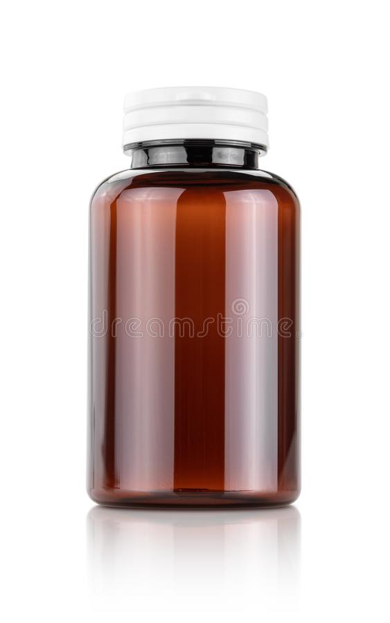Blank packaging brown plastic bottle for supplement or vitamin products royalty free stock images